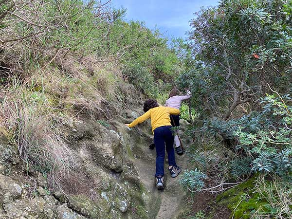 bambini fanno trekking