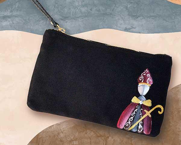 borsetta nera con san gennaro dipinto